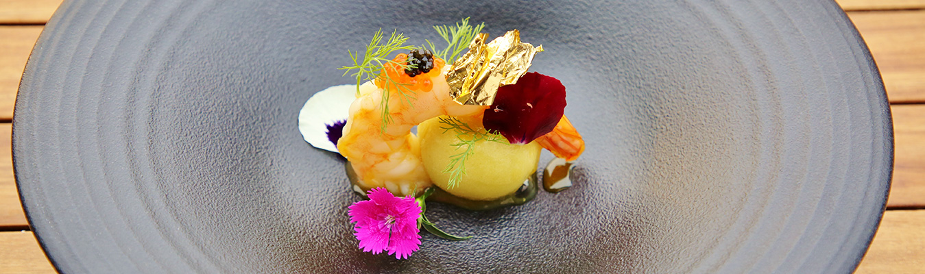 Orange Glazed Poached King Prawn on Fennel Heart Sorbet
