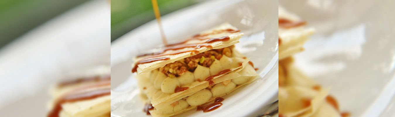Mille Feuille With Cinnamon Cream, Nuts And Honey