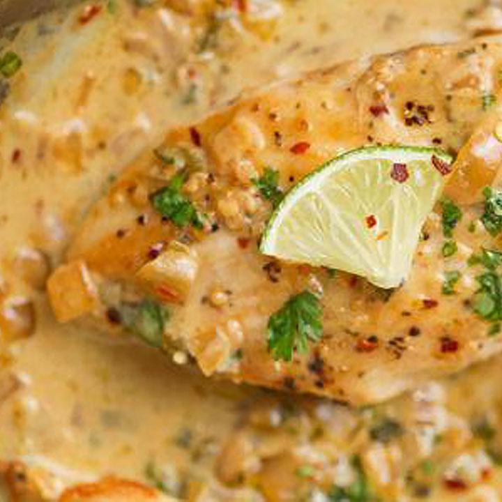 One Skillet Grilled Chicken With Fiesta Cream Sauce
