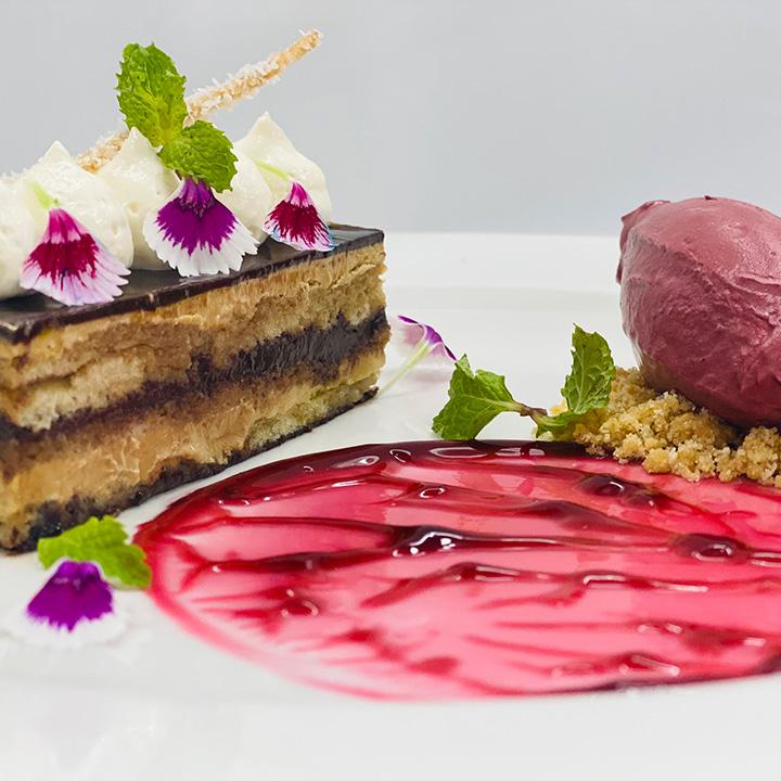 Chocolate Mint Cake With Chilly Kokum Ice Cream