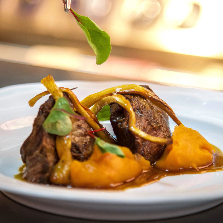 Slow Cooked Beef Cheeks, Sweet Potato Puree & Honey Glazed Parsnips